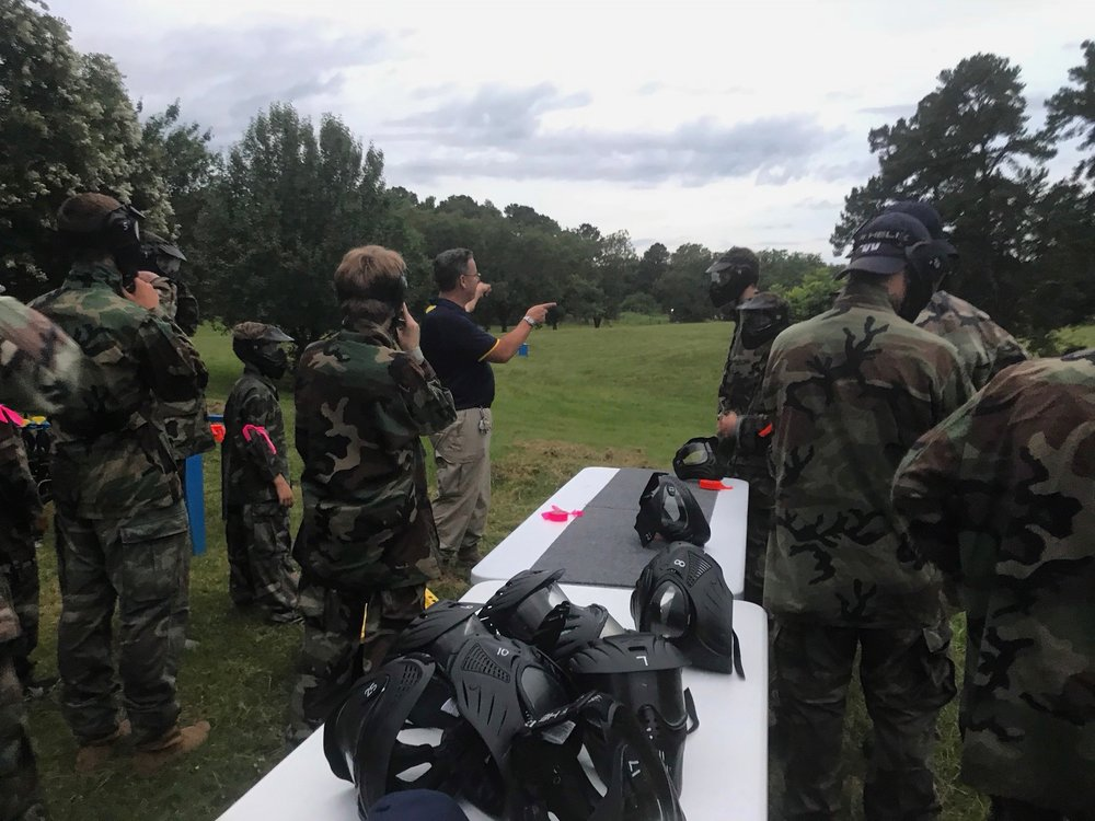 Campers receive paintball instructions