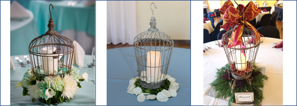 Shown accessorized as elaborate or simple for your special occasion and the birdcage can also be the perfect holiday centerpiece!