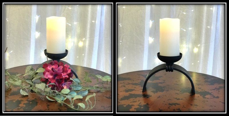 Shown accessorized with simple LED candle or add flowers to soften the look.