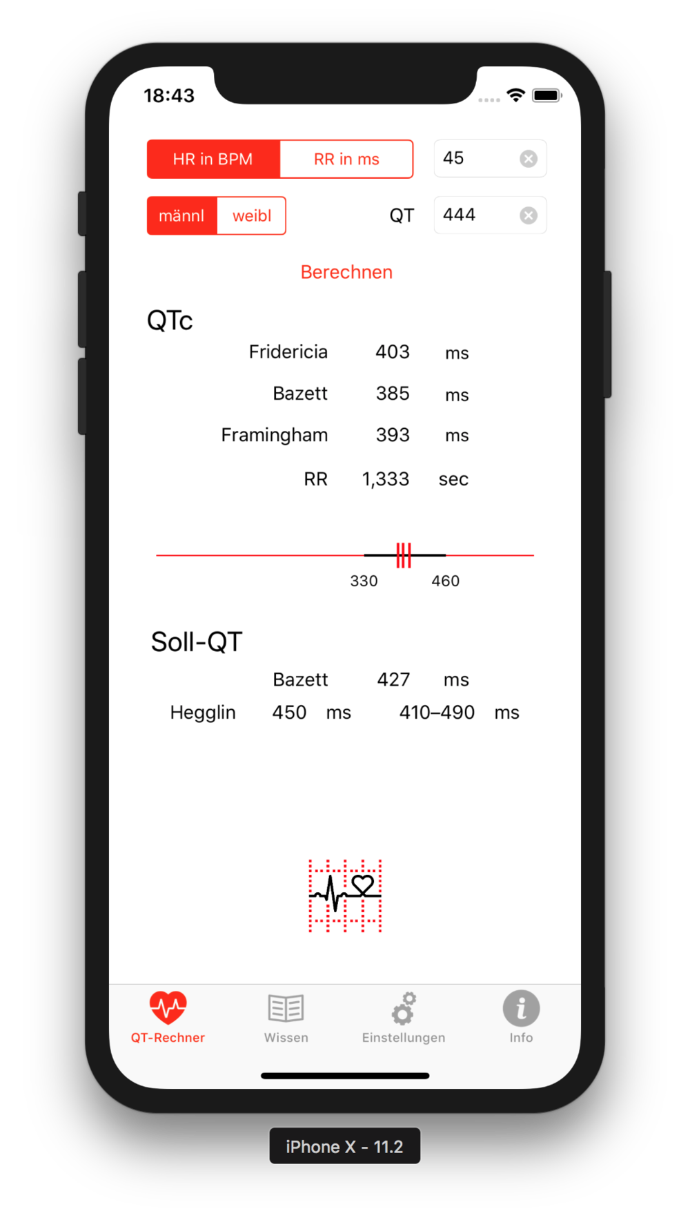 QTc-Rechner für iPhone (iOS) - QTc-Calculator for iPhone (iOS)