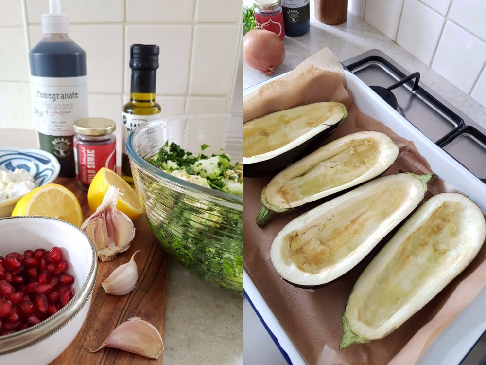 All the ingredients for sumac and coriander stuffed aubergines. Hollowed out aubergines, ready for baking.