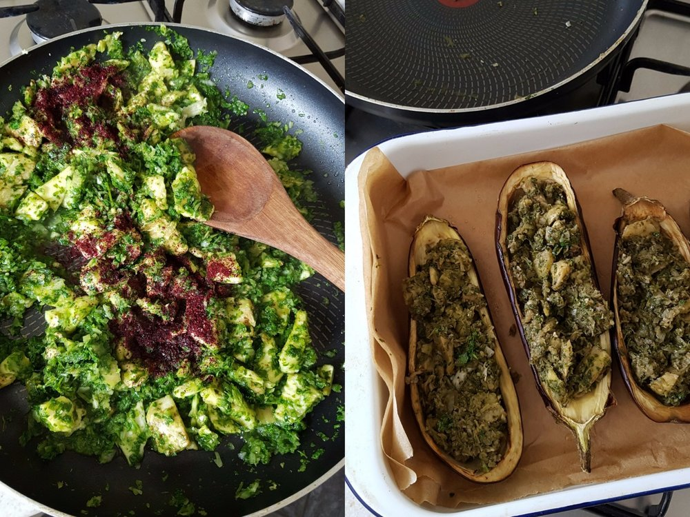 coriander and sumac cooking with aubergine. stuffed aubergines