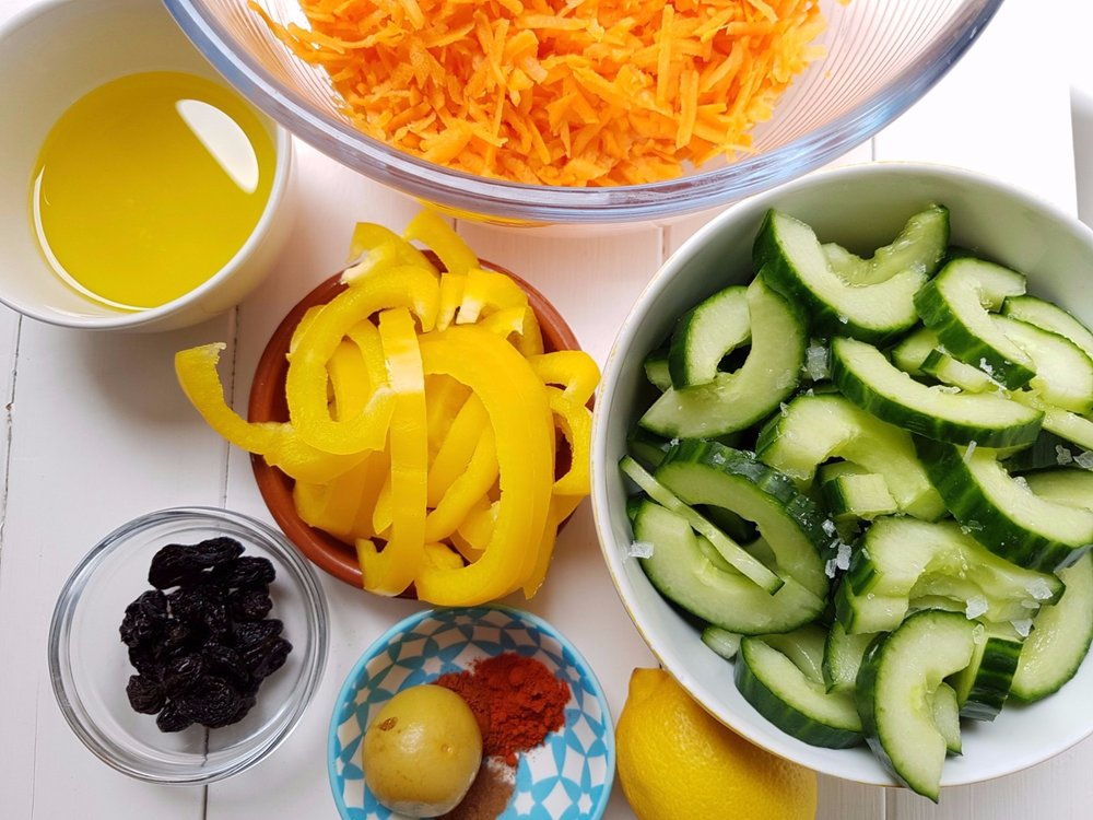 ingredients for cinnamon and preserved lemon spiced carrot salad