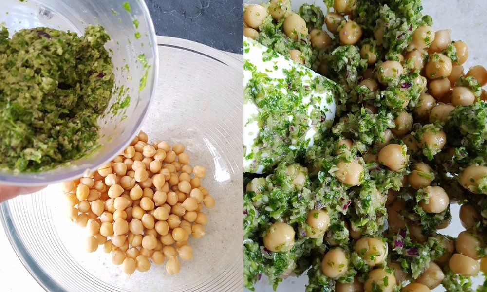chickpeas mixed with fresh coriander,onion, garlic and olive oil