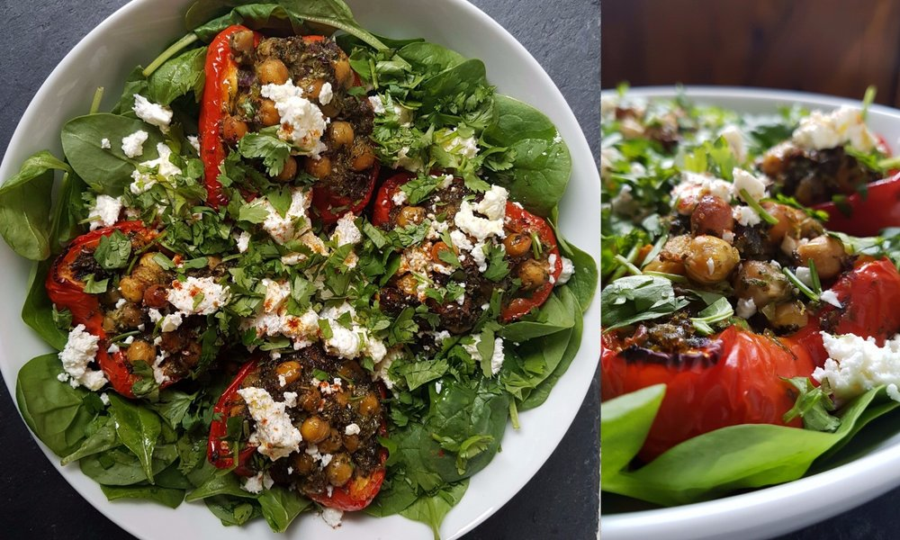 red peppers stuffed with chickpeas and fresh coriander, topped with feta
