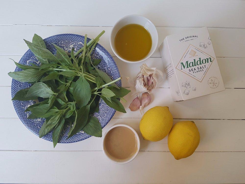 ingredients for basil tahini mayo free potato salad