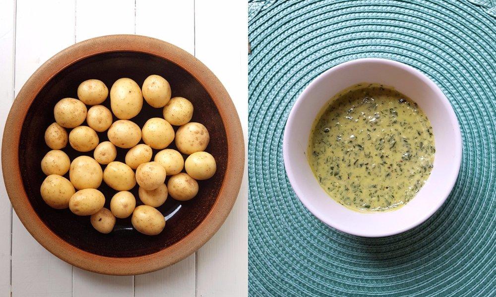 potatoes basil tahini dressing