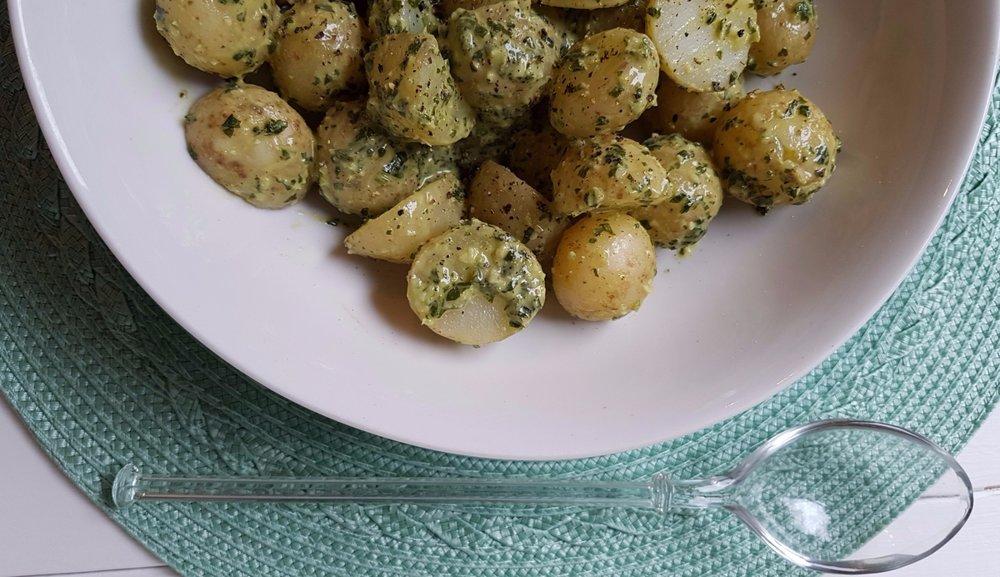 mayo free basil and tahini potato salad