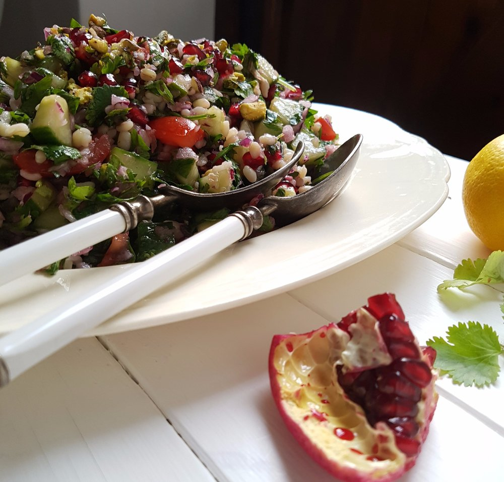 tabbouleh with pomegranate and pistachios