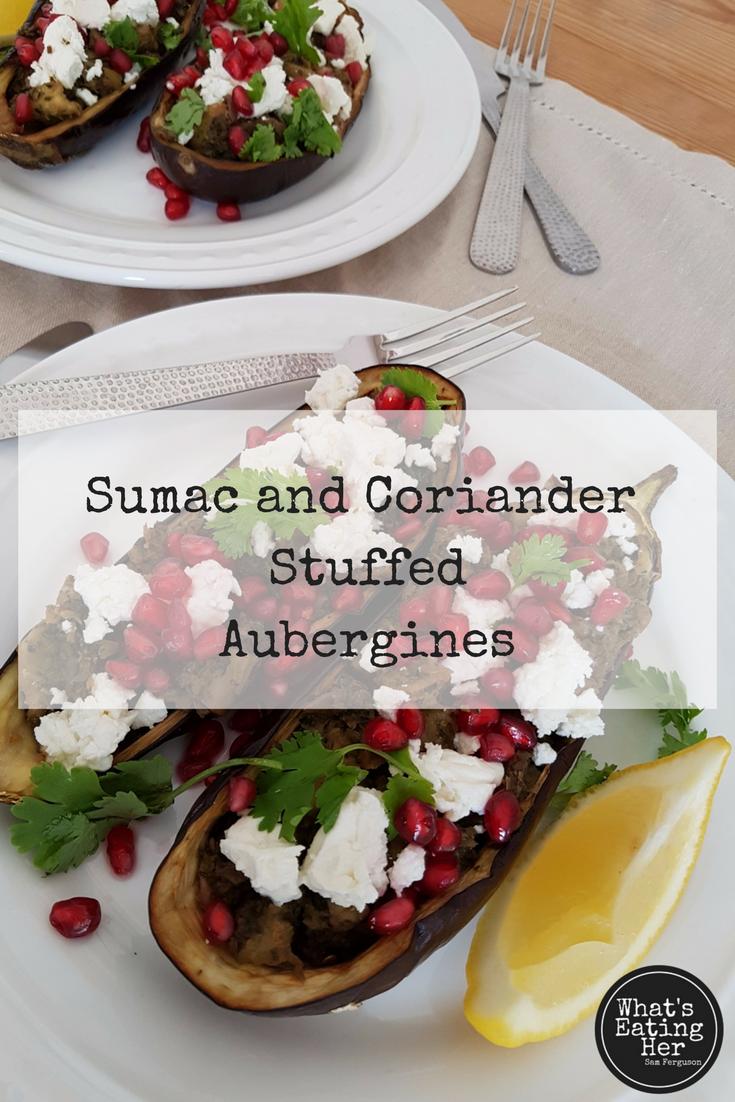 Sumac and coriander stuffed aubergines