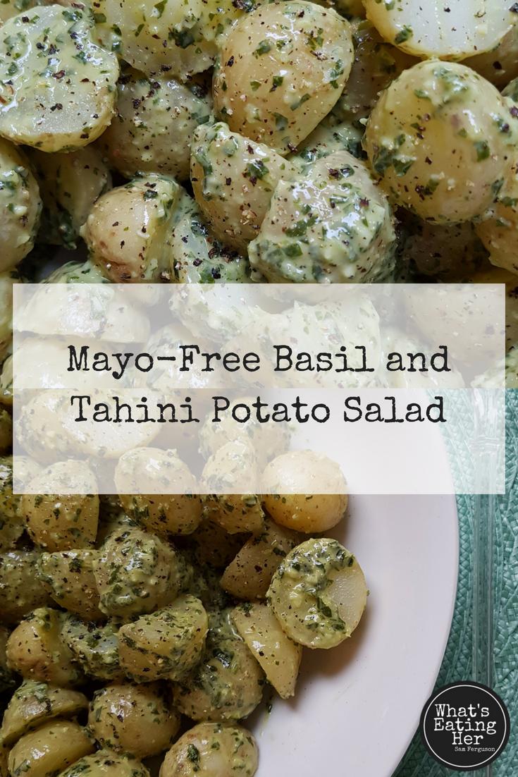 How to make mayo free basil and tahini potato salad