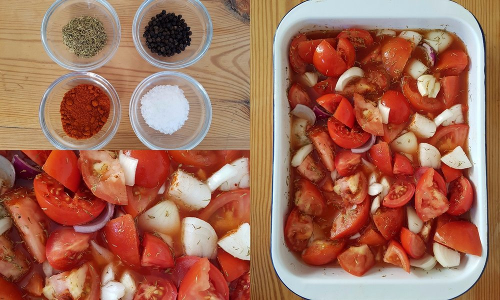 Ingredients for roasted tomato and garlic sauce