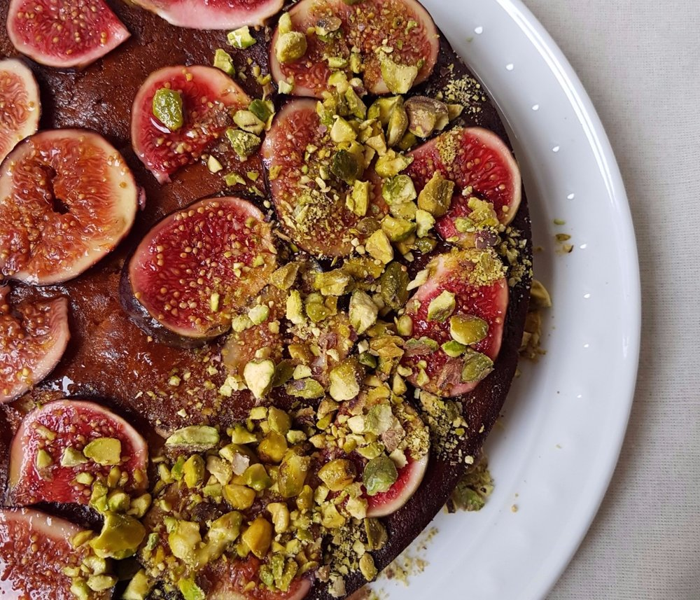 one bowl yogurt honey and lemon olive oil cake with pistachios and figs