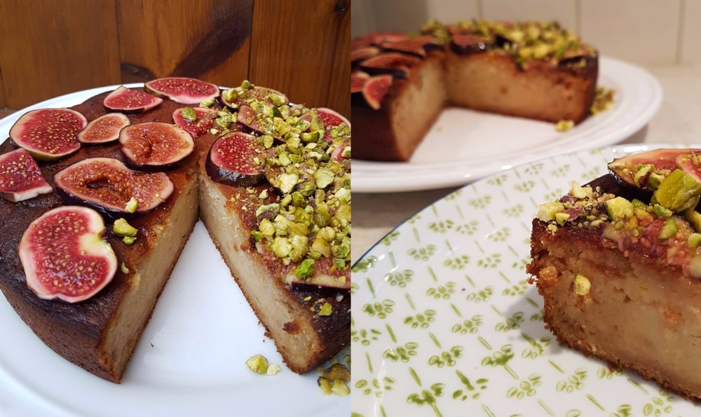 slice of yogurt honey and lemon olive oil cake with pistachios and figs