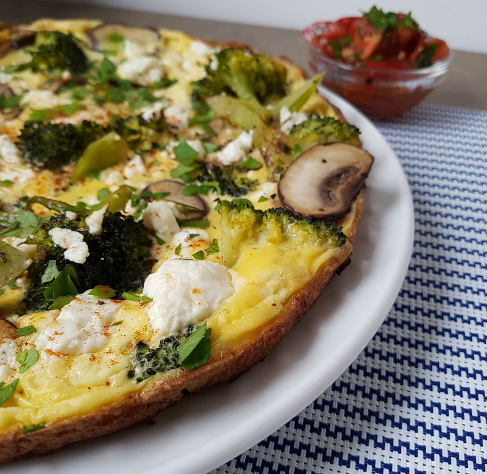 mushroom, broccoli and feta frittata