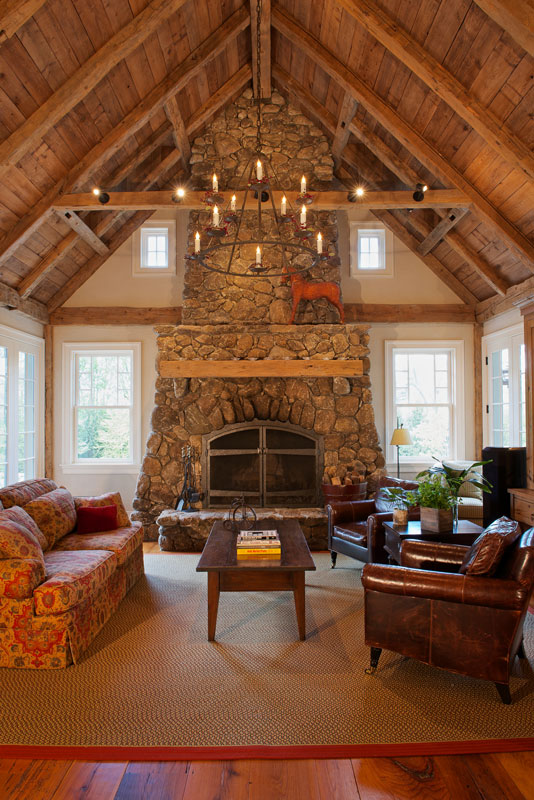 Family room with hand-hewn rustic timbers
