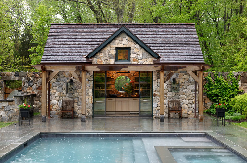 Fieldstone clad pool house