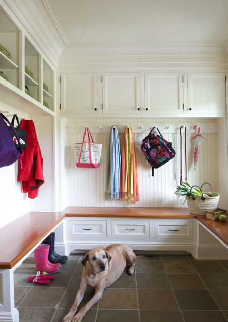 Crisp and clean mudroom with dog