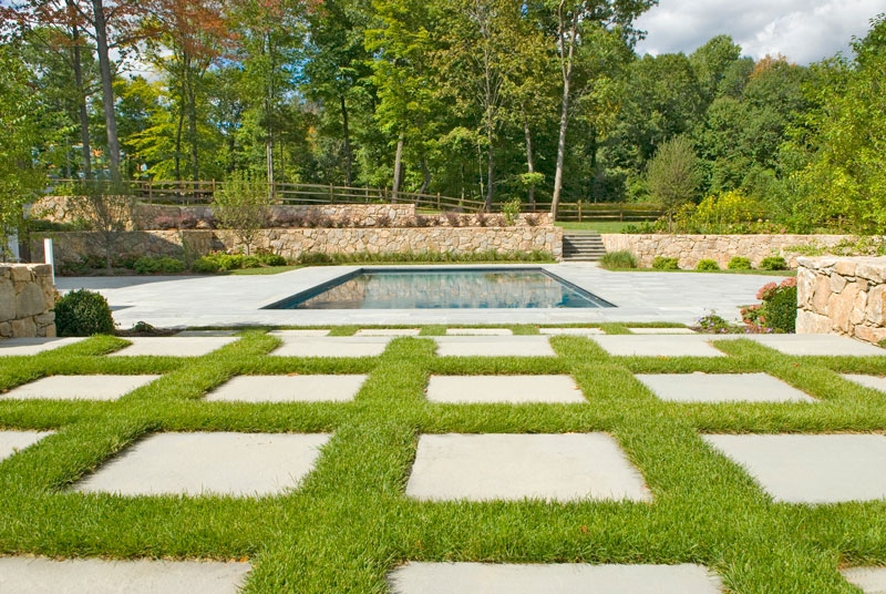 Stone patio and pool