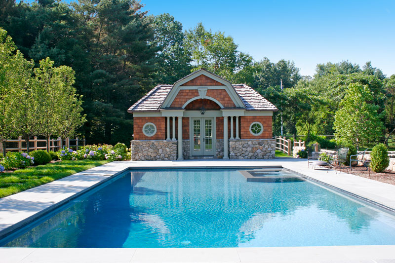 Pool House with native field stone