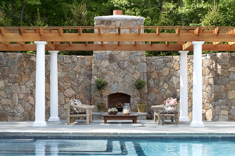 Outdoor fireplace, poolside