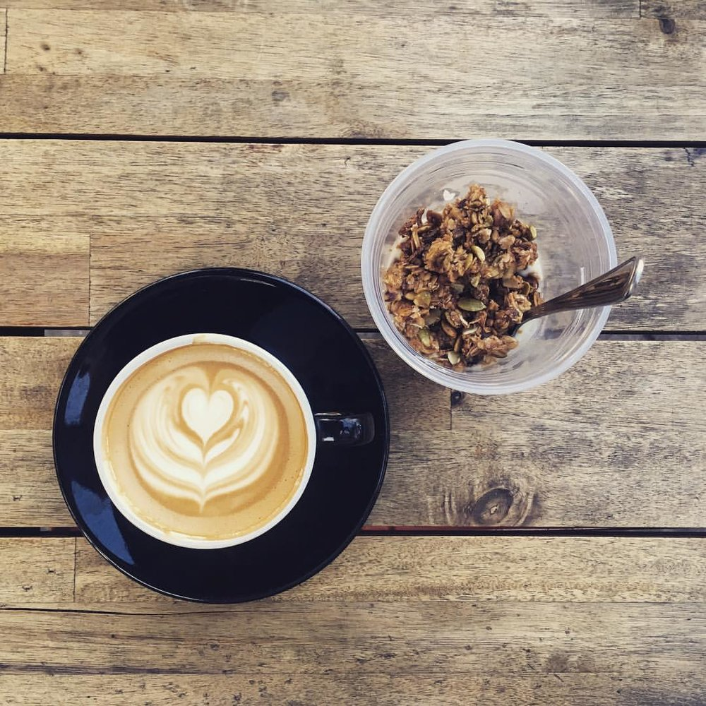 latte with our house made granola and yogurt