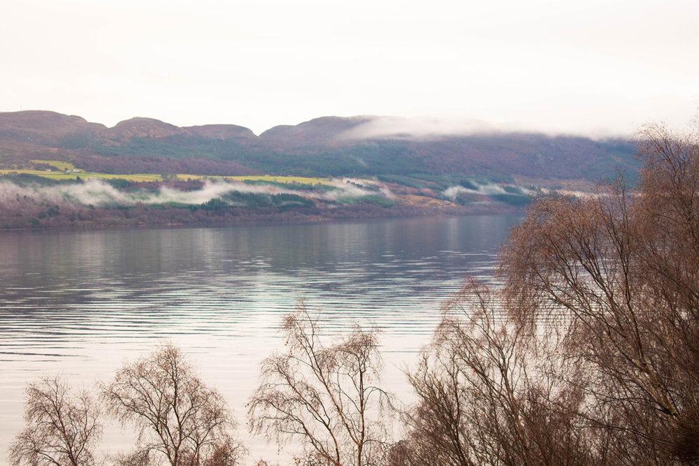 Loch Ness in the ominous fog of Christmas morning