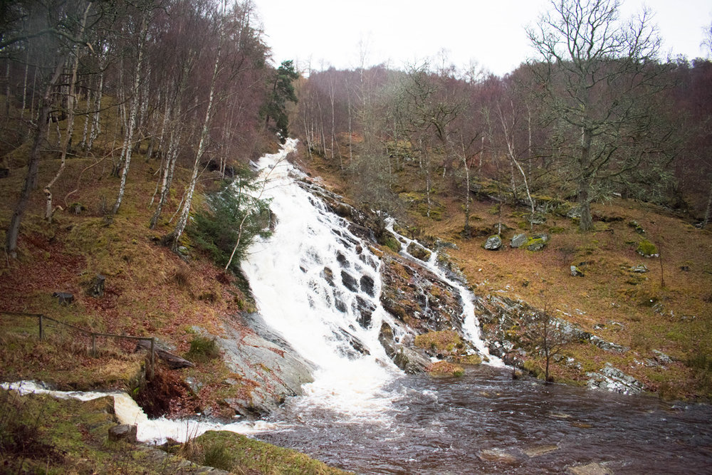 Waterfall in Kinloch Rannoch behind the Dunalastair Hotel Suites
