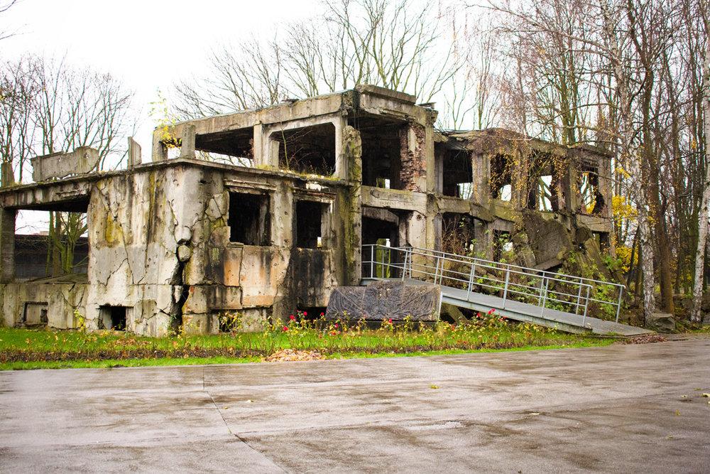 One of the ruined barracks