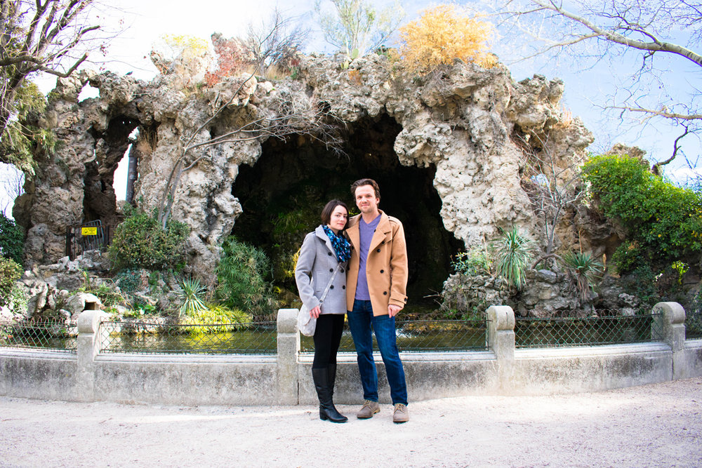 For once we actually got a picture of us together! By the koi pond at Parc Rocher des Doms