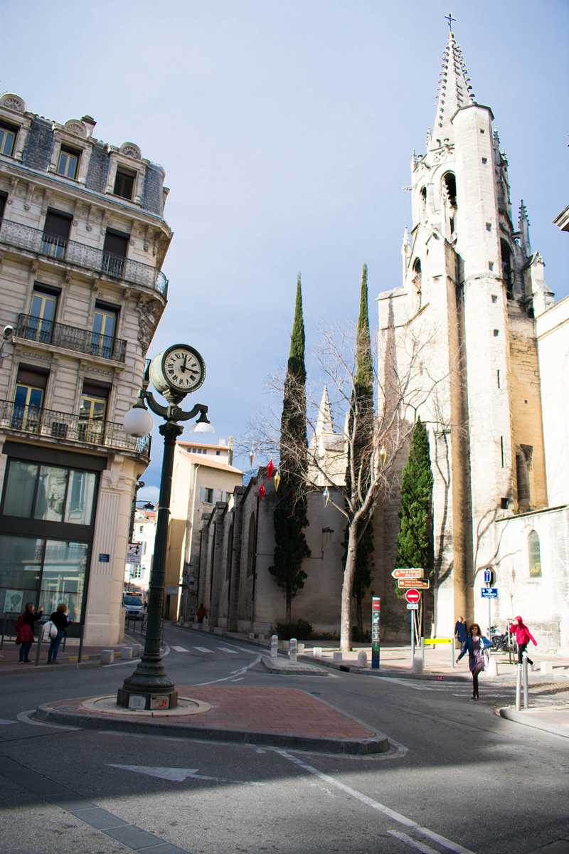Street corner by Basilique St. Pierre - the bells ring nicely on the hour so you know when it's lunch time.