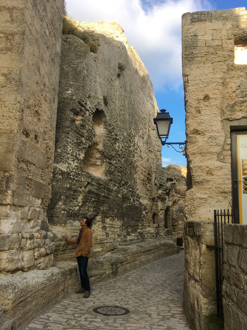 Admiring the stone walls of Les Baux
