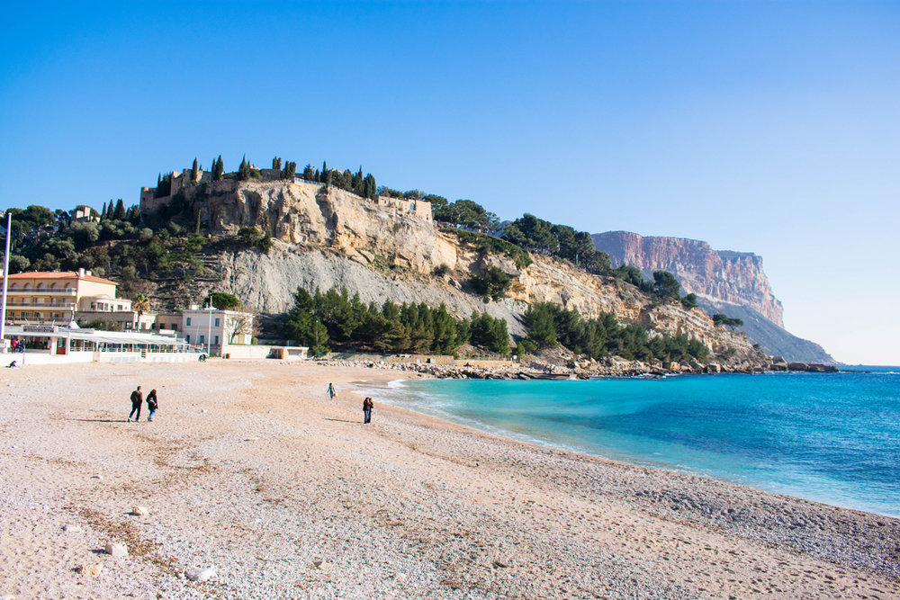 Beach and cliffs of Cassis