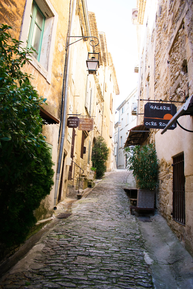 One of the many narrow cobblestone Streets in Gordes, France