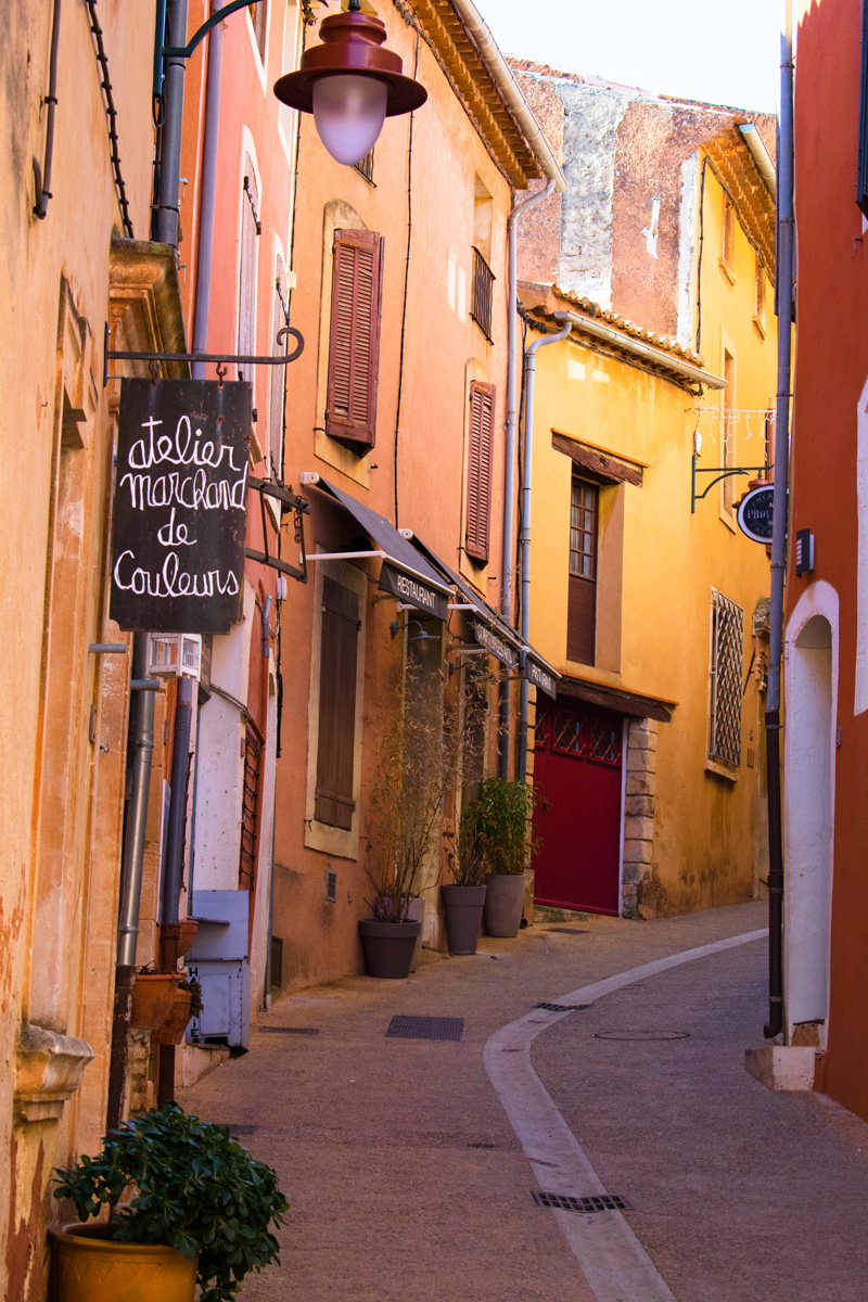 One of the many colourful streets of Roussillon