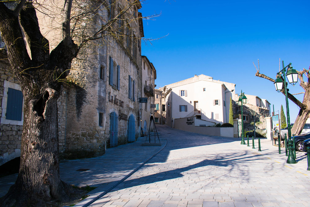 Walking up the hill to the town centre of Ménerbes