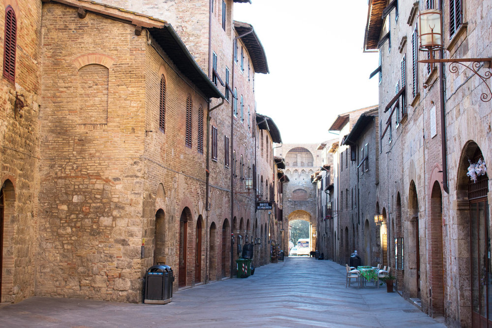 Typical street in San gimignano...look towards one of the gates