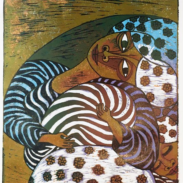 """When I dare to be powerful, to use my strength in the service of my vision, then it becomes less and less important whether I am afraid."" ―Audre Lorde #MondayMotivation Image: ""Mom, Wish, Dream"" Woodcut by Fred Mutebi available on the IVG Online Shop!"