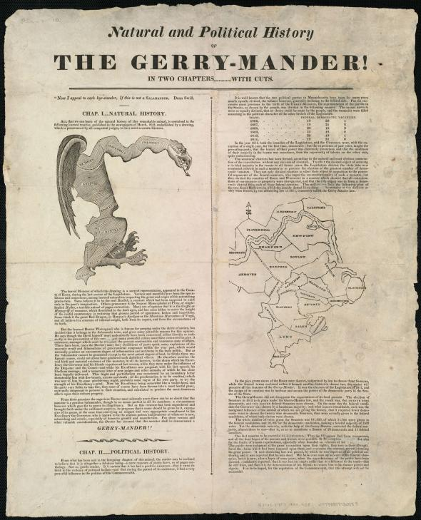 """THE GERRY-MANDER!""  This newspaper article from around 1820 includes a reprint of the original gerrymander map (left) and a more realistic map of the region (right).   MAP REPRODUCTION COURTESY OF THE NORMAN B. LEVENTHAL MAP CENTER AT THE BOSTON PUBLIC LIBRARY"
