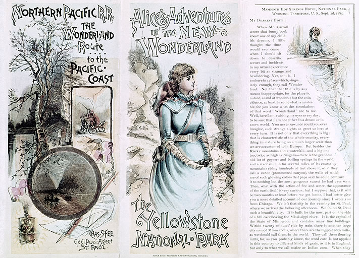 "Railroad brochure promoting Yellowstone as ""the new Wonderland,"" circa 1880s"