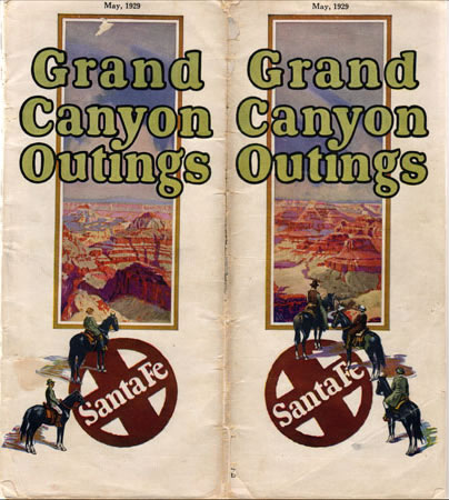 Santa Fe Railroad brochure for Grand Canyon outings, 1929