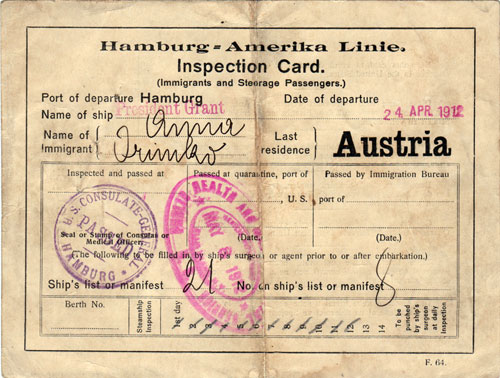 Immigrant Inspection Card, 1912    This is placeholder text. This text doesn't belong here, so it must be placeholder text.     FOUND OBJECT / USA: A Haven Nation