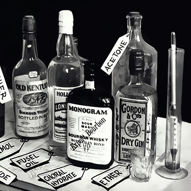 CONFISCATED, TAINTED ALCOHOL BOTTLES, 1923     FOUND OBJECT / The Roaring '20s