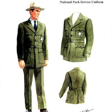 PARK RANGER UNIFORM CONCEPT SKETCH, 1947     FOUND OBJECT / National Parks