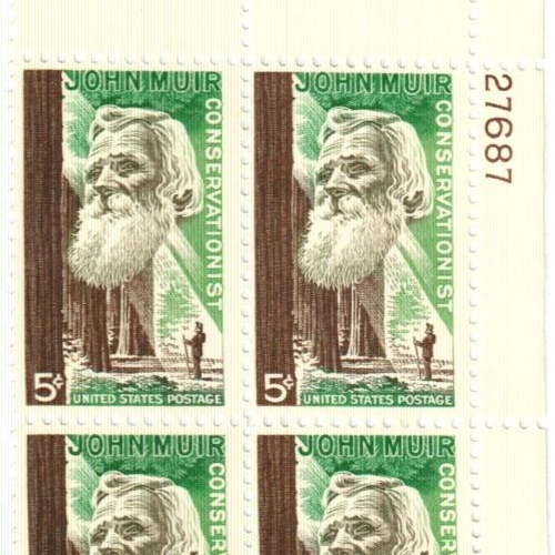 JOHN MUIR STAMP SHEET, 1964     FOUND OBJECT / National Parks