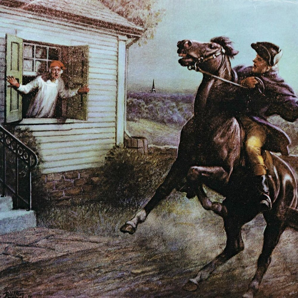 THE BRITISH ARE COMING!   Paul Revere rides to Lexington to warn Samuel Adams and John Hancock that British troops are coming through on their way to Concord.    EPISODES / Road To Revolution