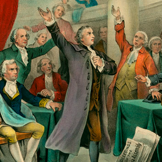 GIVE ME LIBERTY OR GIVE ME DEATH!   Patrick Henry delivers famous words at St. John's Church in Richmond, Virginia.    EPISODES / Road To Revolution