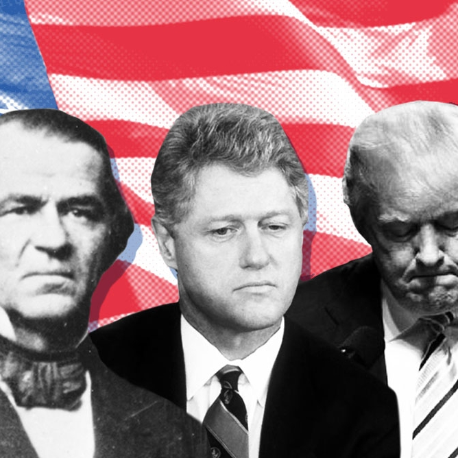 "WHAT'S THE PRECEDENT TO BOOT A PRESIDENT?    Explore a Constitutional primer and revisit three cases that the nation shouted ""Impeach!""     Politics / Primer"