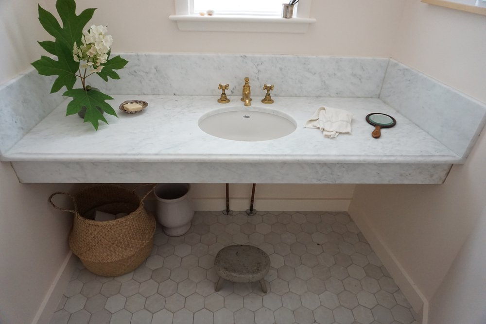 1. Sink from  American Standard  2. Faucet  Waterworks  3. Wall and Trim Color:  Benjamin Moore OC-73 OPAL  4. Basket  The ARC SHOP  5. Floor Tile:  Cle Tile