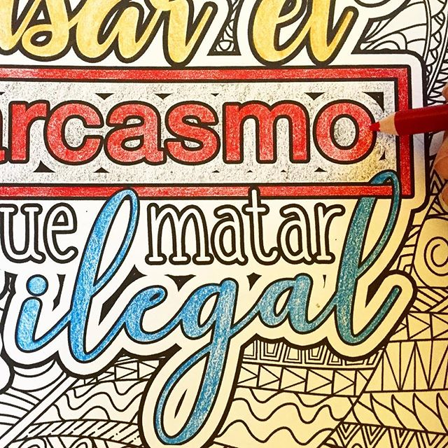 Grab your colored pencils- we've found a few teach yourself spanish coloring books you're gonna LOVE! (Link in bio). #spanish #coloring #coloringbook #español #typography